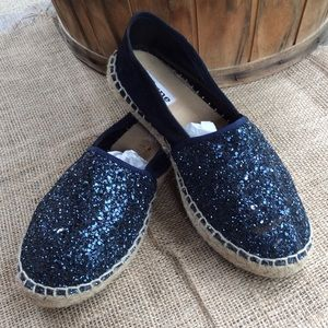 Blue Glitter and Suede Espadrille / Dune London